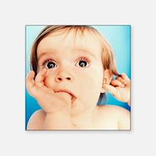 "Baby girl sucking thumb Square Sticker 3"" x 3"""