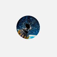 Space station orbiting Earth, artwork Mini Button