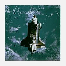 Space shuttle Challenger orbiting ear Tile Coaster
