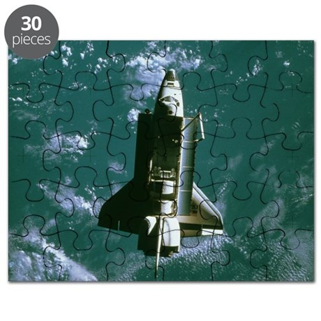 Space shuttle Challenger orbiting earth Puzzle
