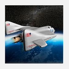 SpaceShipOne above Earth Tile Coaster