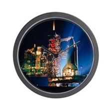Space shuttle on launch pad Wall Clock