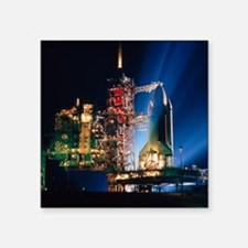 """Space shuttle on launch pad Square Sticker 3"""" x 3"""""""