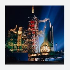 Space shuttle on launch pad Tile Coaster