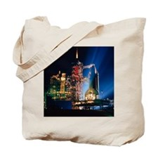 Space shuttle on launch pad Tote Bag