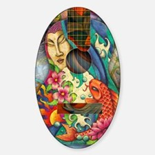Buddha, Koi, Lotus, Guitar Sticker (Oval)