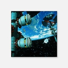 """Space stations Square Sticker 3"""" x 3"""""""