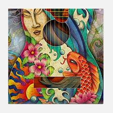 Buddha, Koi, Lotus, Guitar Tile Coaster