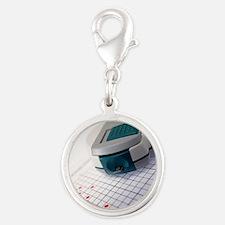 Blood glucose tester Silver Round Charm