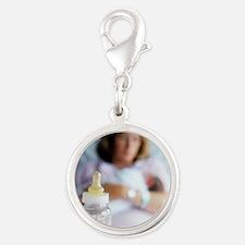 Bottle of breast milk Silver Round Charm