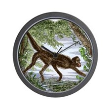 Spider monkey, historical artwork Wall Clock
