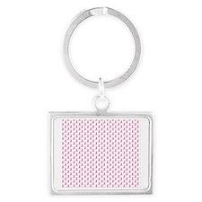 Pink Ribbon Breast Cancer Patte Landscape Keychain