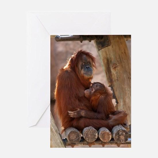 (10) Orang Mother  Child 7372 Greeting Card