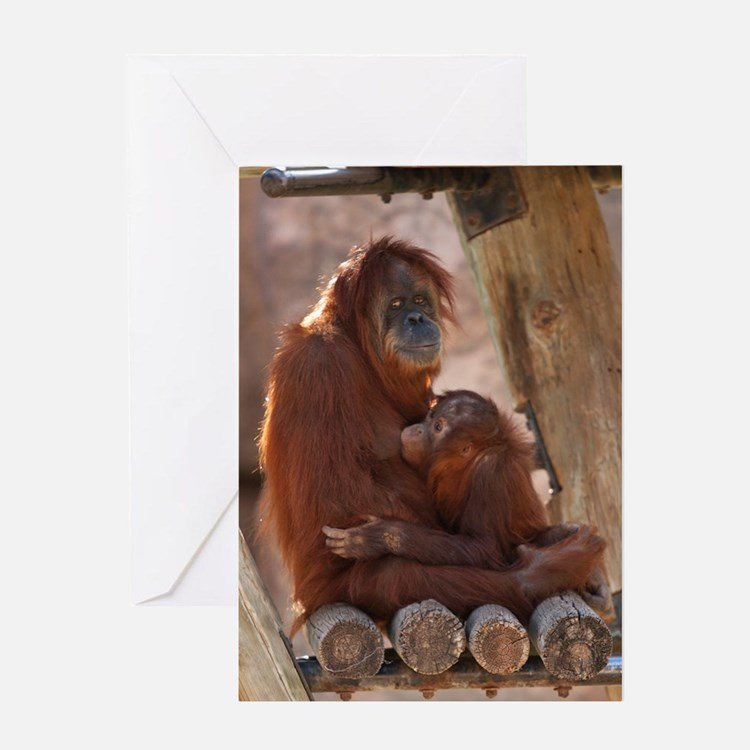 (10) Orang Mother  Child 7372 Greeting Card