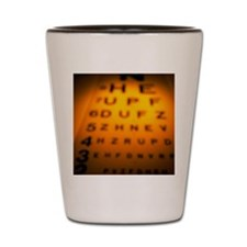 Blurred view of a Snellen eye test char Shot Glass