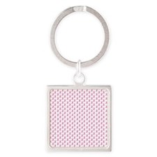 Pink Ribbon Breast Cancer PatternP Square Keychain