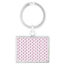 Breast Cancer Awareness Pink Ri Landscape Keychain