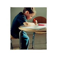 Boy drawing Throw Blanket