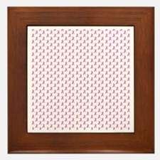 Pink Ribbon Breast Cancer Pattern Framed Tile