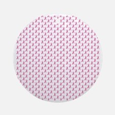 Pink Ribbon Breast Cancer Pattern Round Ornament