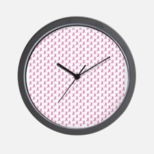 Pink Ribbon Breast Cancer Pattern Wall Clock