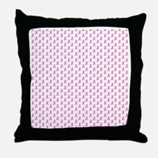 Pink Ribbon Breast Cancer Pattern Throw Pillow