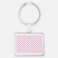 Pink Ribbon Breast Cancer Patte Landscape Keychain