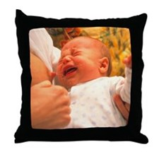 Breast-feeding: baby's crying causes  Throw Pillow