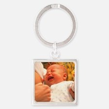 Breast-feeding: baby's crying caus Square Keychain
