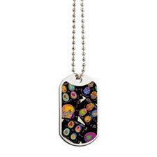 Coloured CT scans of the brain on a light Dog Tags