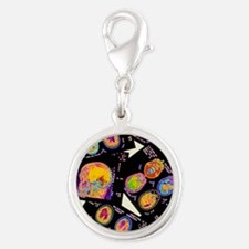Coloured CT scans of the brain Silver Round Charm