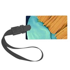 Coloured SEM of a toothbrush scr Luggage Tag