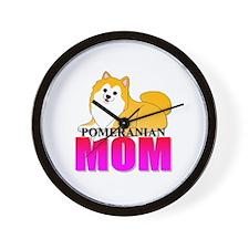 Particolor Pomeranian Mom Wall Clock