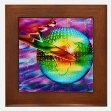 Surfing cyberspace Framed Tile