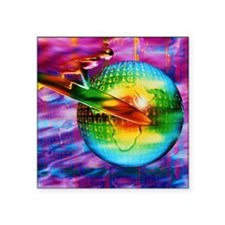 """Surfing cyberspace Square Sticker 3"""" x 3"""""""