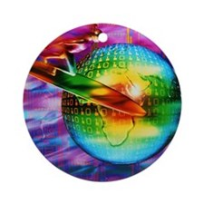 Surfing cyberspace Round Ornament