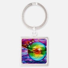 Surfing cyberspace Square Keychain