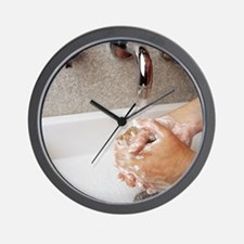 Cleaning hands Wall Clock