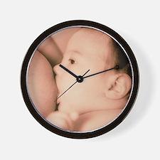 Close-up of a baby feeding at his mothe Wall Clock