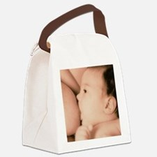 Close-up of a baby feeding at his Canvas Lunch Bag
