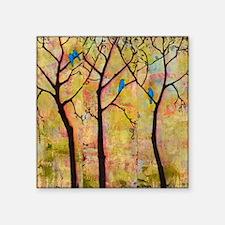 "Three Trees With Bluebirds Square Sticker 3"" x 3"""