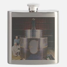 Technicians with Meteosat-6 in test chamber Flask