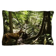 Tasmanian wolf in forest Pillow Case