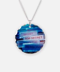 Top secret paperwork Necklace Circle Charm