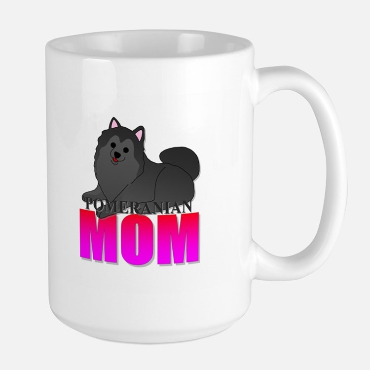Black Pomeranian Mom Large Mug