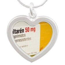 Diclofenac painkiller tablet Silver Heart Necklace