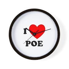 I Love Poe Wall Clock