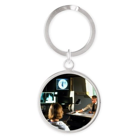 Doctor giving a lecture to medical Round Keychain
