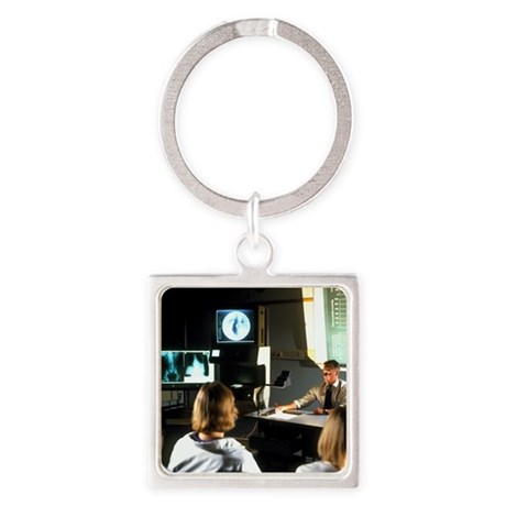 Doctor giving a lecture to medical Square Keychain