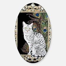 Silver Egyptian Mau Sticker (Oval)